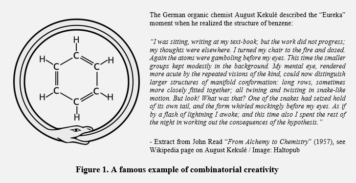 A famous example of combinatorial creativity: the origin of benzene